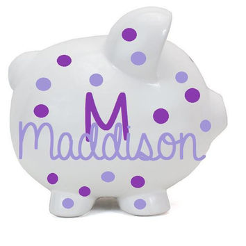 Monogram Girl Personalized Piggy Bank