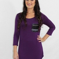 Queen Bee Purple Sequin Tunic Top
