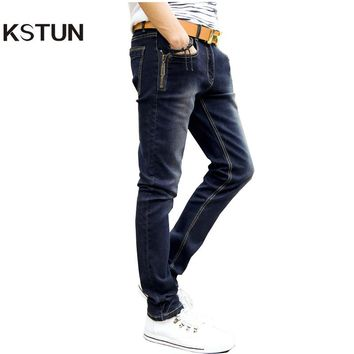 KSTUN Best Sale  Men's  Jeans Fashion Fake Designer Clothes Biker Jeans With Zippers Skinny Mens Tapered Jeans Stretch Jeans Men