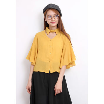 Cut-Out Neck Flutter Sleeves Blouse