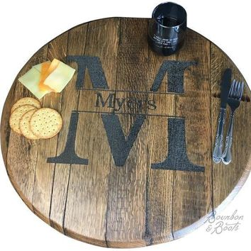 Personalized Monogrammed Wooden Lazy Susan