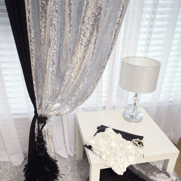 Awesome Silver Sequins Beaded Curtains Drapery Panel Roon Divider Order to made! Perfect for Living room, Bed room