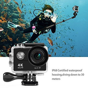 "Cool Sports Action Camera 4K Ultra HD WiFi HDMI 2.0"" LCD Screen Waterproof DV for Outdoor Sporting Black"