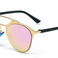 GAMT Compound Eyes Desginer Vintage Aviator Sunglasses Retro Round Lens Fashion Style Gold Frame Pink Lens