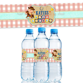 Personalized Baby Cowboy Water Bottle Label - Country Western Baby Shower Party Favor - Water Labels - Red Vintage Custom Baby Shower Decor