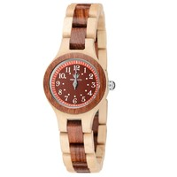MEKU Womens Wooden Wrist Watch Handmade Two Tone Natural Wood Watch with Wooden Box Valentine Gift