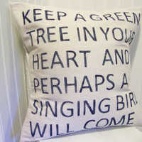 Keep a Green Tree in Your Heart pillow navy blue by jennilyons81