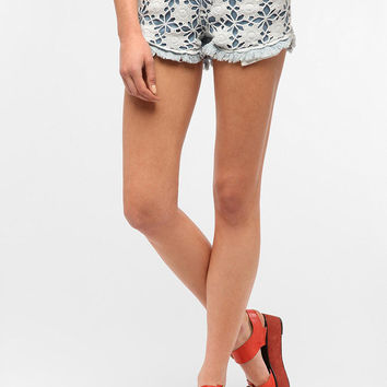 Reverse Crochet Denim Short