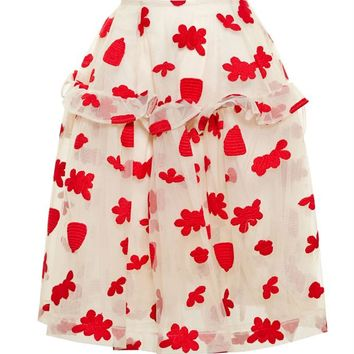 Flower Embroidered Skirt - SIMONE ROCHA
