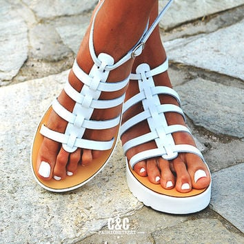 Leather women white Sandal shoes, Gladiator sandals, leather shoes,white sandals, white sole