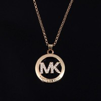 MK Michael Kors Woman Fashion Logo Diamonds Chain Necklace