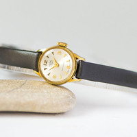 Women watch Smiths vintage gold plated small, retro lady watch shockproof, classical watch for women mechanical, genuine leather strap new