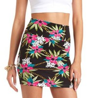Hawaiian Print Bodycon Mini Skirt by Charlotte Russe - Black Combo