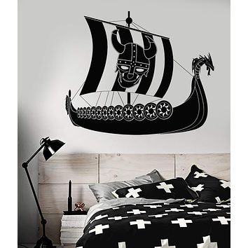 Vinyl Wall Decal Viking Pirate Ship Sailor Sail Skull Helmet With Horns Stickers Unique Gift (1921ig)