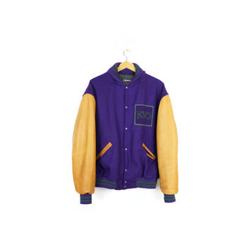 vintage 90s wool + leather settlemiers varsity jacket / purple & green / brown leather / athletic / 1990s / lettermen / M - L