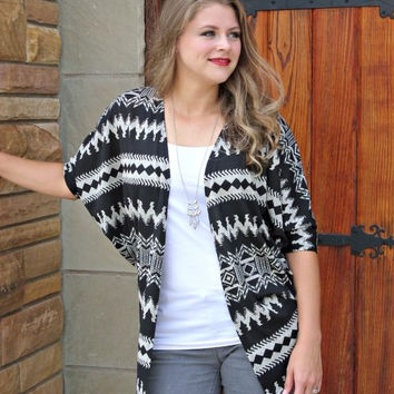 Black Aztec Cardigan