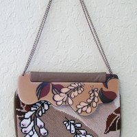 Vintage LEATHER Clutch Purse by Patricia Smith - Moon Bags, Hand Painted, Cross-Stitched front with Interchangeable Flap
