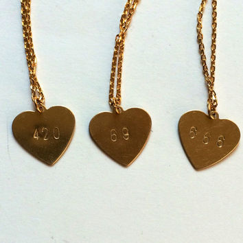 Naughty Numbers- 420 Metal Stamped brass Charm on gold plated chain