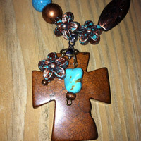 Turquoise Copper Patina Necklace Cross Pendant by YourLuckyPenny