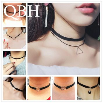 New Gothic Punk Harajuku Choker Necklace Leather Black Velvet Suede Steampunk Torques Jewelry Triangle LOVE Heart Star Crystal