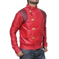 Red Akira Kaneda Real Leather Stylish Jacket - 100% Money Back Guarantee