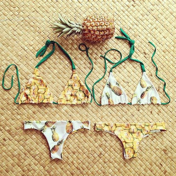 Pineapple Pattern Summer Fashion Style Lovely Women Bikini/Swimsuits/Swimwear/Beachwear = 4697444292