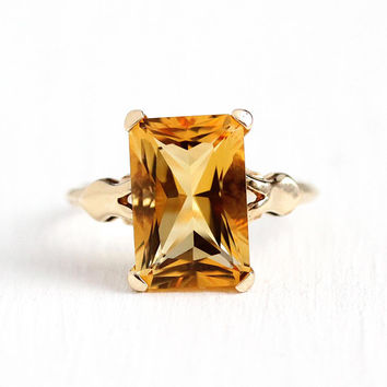 Genuine Citrine Ring - 1940s Vintage 10k Rosy Yellow Gold Art Deco 3.83 CT Orange Gemstone - Size 5 1/4 November Birthstone Fine Jewelry
