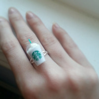 Starbucks frappuccino cup ring - miniature Starbucks cup adjustable ring