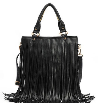 Designer Handbags Street Western Punk Tassel Fringe Tote Bags PU Leather Shoulder Casual Bag bolsos mujer CF