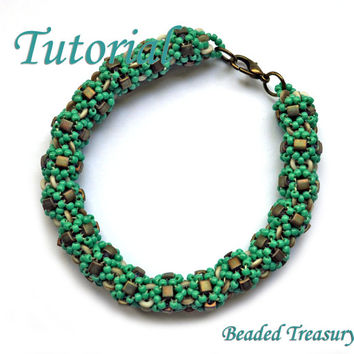 "Beadweaving tutorial for ""Cubical"" bracelet / Bracelet tutorial / Beadwoven bracelet / Bracelet pattern /  O-bead pattern / TUTORIAL ONLY"