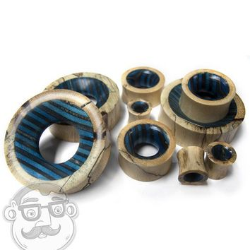 Black & Blue Wood Skateboard Concave Tunnel Plugs