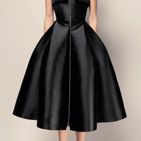 The Mckenna Silk Strapless Cuff Midi Dress | Moda Operandi