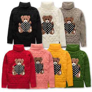 winter baby girls boys high turtleneck woolen sweater knitted red children little kids thicken high neck cartoon sweaters FG028