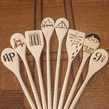Harry Potter Woodburned Spoons