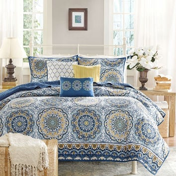 Queen Size 6 Piece Coverlet Quilt Set In Blue Floral Pattern
