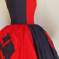 Custom made to order Harley Quinn Joker Sweet Heart Halter Ruffled Dress