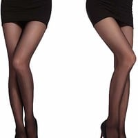Women's Reinforced Toe Semi Sheer Opaque Tights Panty Hose
