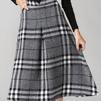 Gray High-Waisted Plaid Wool Skirt