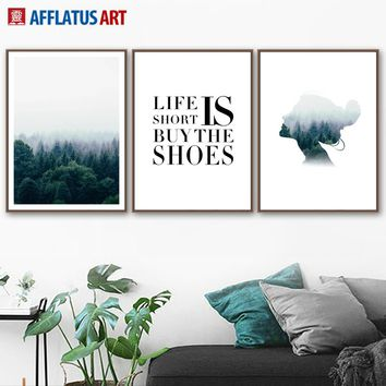 Forest Landscape Abstract Girl Quotes Nordic Posters And Prints Wall Art Canvas Painting Wall Pictures For Living Room Decor
