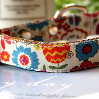 Colorful Flower Dog Collar 3/4 Inch Wide