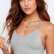 Mission to Mars Heather Grey Strappy Crop Top