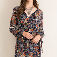 Wrap Top Floral Print Boho Dress