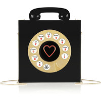 Charlotte Olympia Chatterbox engraved Perspex clutch