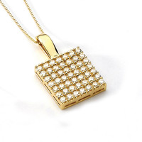 14K Yellow Gold Cubic Zirconia Pendant, Gold Pendant, Cubic Zirconia Pendant, CZ Pendant, Fancy Pendant, Fashion, Fancy Jewelry, CZ Jewelry