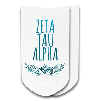 Zeta Tau Alpha - Watercolor Laurel No-Show Socks