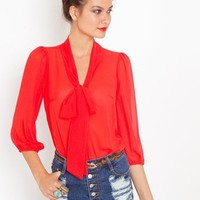 Tied Chiffon Blouse in  What's New at Nasty Gal