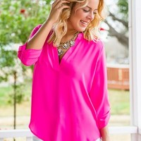 Take The Plunge Top-Fuchsia - NEW ARRIVALS
