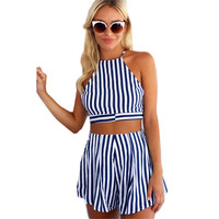 Women Vertical Striped Sexy Lace UP Fit Slim Halter Crop Top Sleeveless Blouse Vest Shirt And Shorts Two Pieces Set