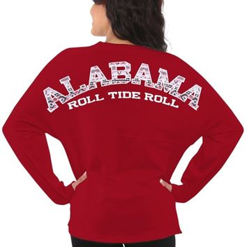 Women's Alabama Crimson Tide Red Aztec Sweeper Long Sleeve Oversized Top