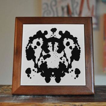 Inkblot Test Ceramic Tile Coaster Set Artwork Trivet Hot Plate Pot Stand Plant Tile Coasters Splashback Kitchen Decor Tile Interior